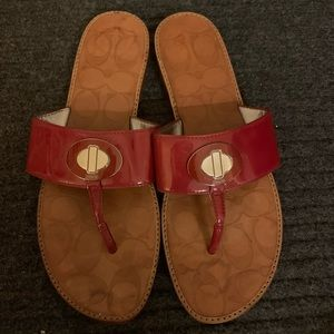 Coach Red Patent Leather Strap Thong Sandal